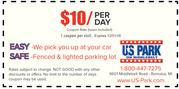 At U.S. Park, we are committed to providing our loyal customers with the lowest DTW Airport parking rates possible. As a result, we offer Detroit airport parking coupons and a simple online reservation system to make each trip you take a little bit easier.